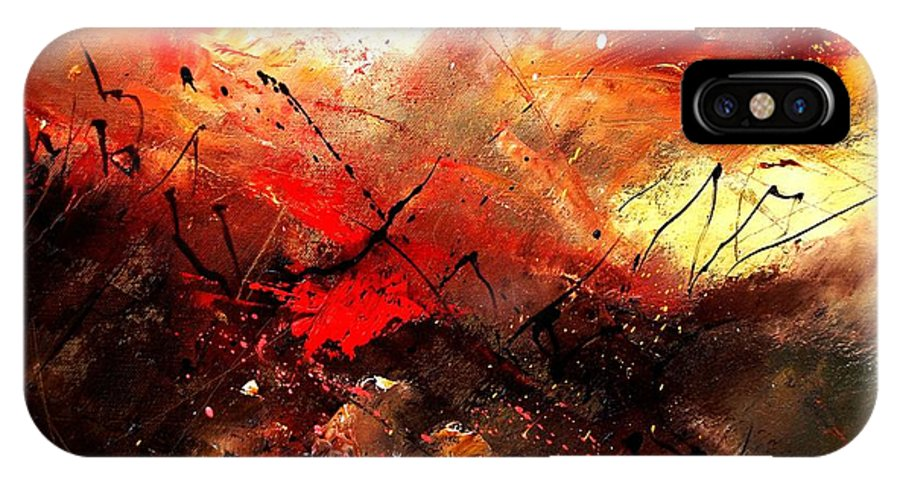 Abstract IPhone X Case featuring the painting Abstract 100202 by Pol Ledent