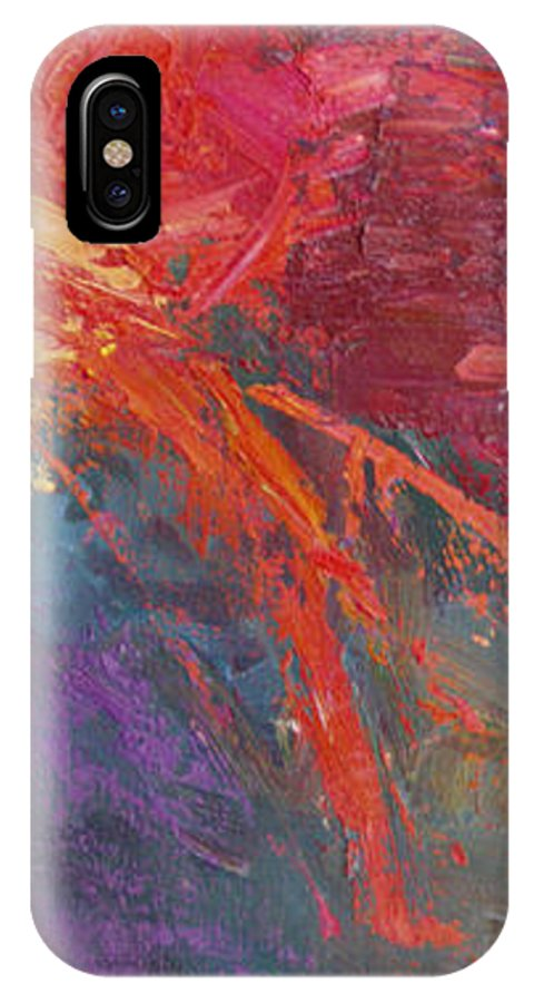 Abstract IPhone X Case featuring the painting Abstract 103A by Betty Jean Billups