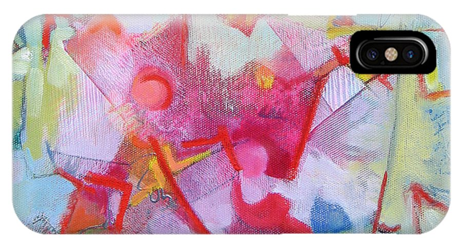 Abstract IPhone X Case featuring the painting Abstract 2 With Inscribed Red by Susanne Clark