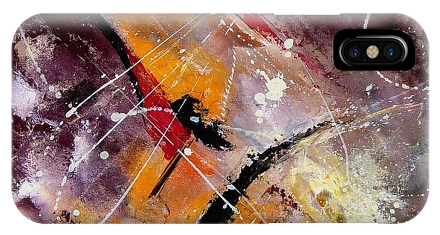 Abstract IPhone X Case featuring the painting Abstract 45 by Pol Ledent