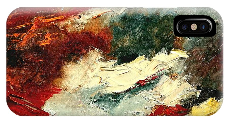 Abstract IPhone X Case featuring the painting Abstract 9 by Pol Ledent