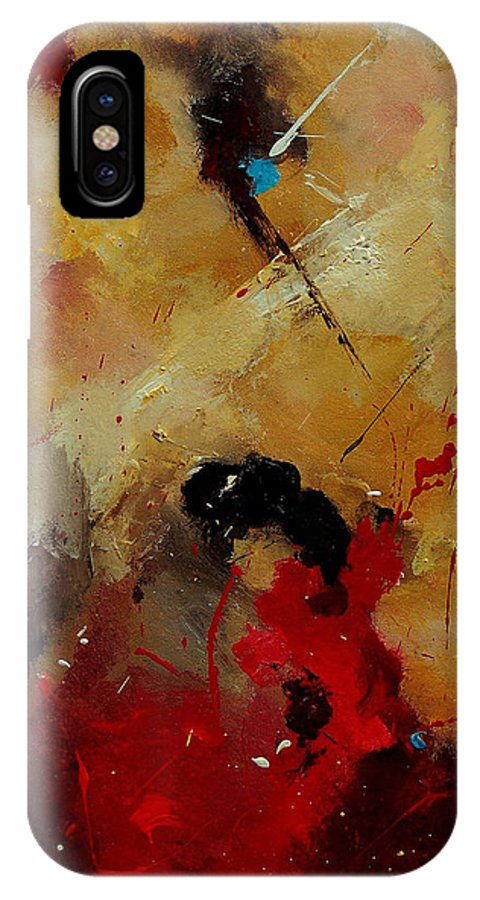 Abstract IPhone X Case featuring the painting Abstract 901156 by Pol Ledent