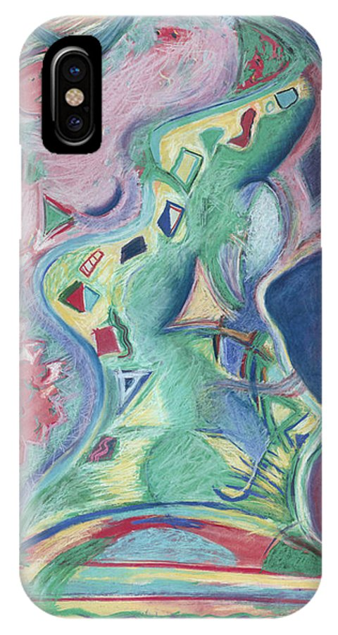 Abstract IPhone Case featuring the painting Abstract 92 - Inner Landscape by Kerryn Madsen- Pietsch