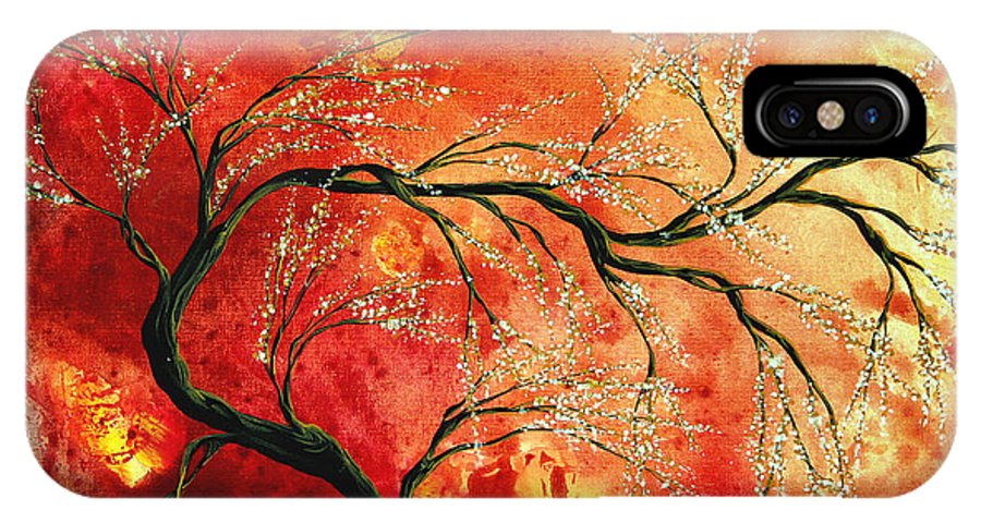 Abstract IPhone X Case featuring the painting Abstract Art Floral Tree Landscape Painting Fresh Blossoms By Madart by Megan Duncanson
