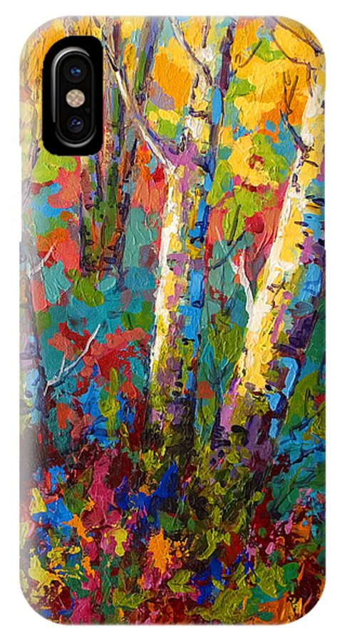 Trees IPhone X Case featuring the painting Abstract Autumn II by Marion Rose