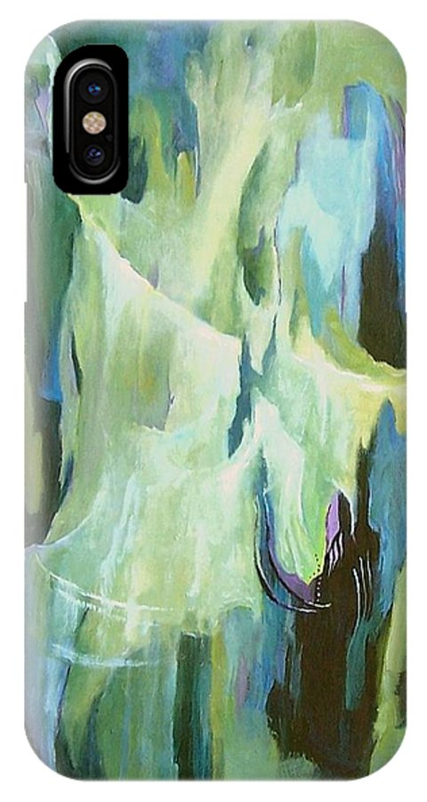 Abstract IPhone X Case featuring the painting Abstract Challenge by Virginia Potter