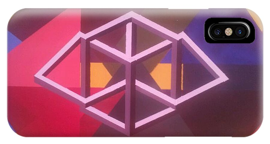 Blocks And Triangles IPhone X / XS Case featuring the painting Abstract by Christine Daffie