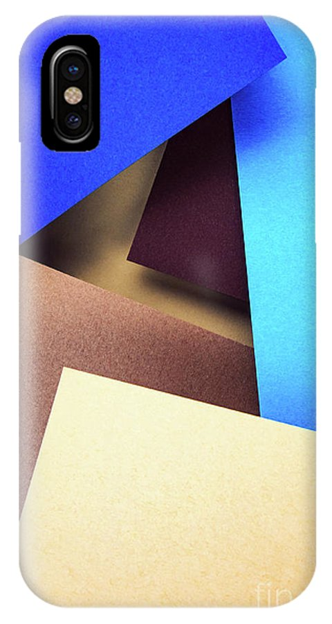 Brown IPhone X Case featuring the photograph Abstract Composition With Colored Paper by Jozef Jankola