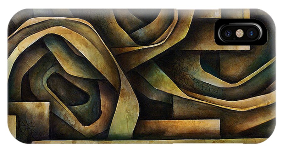 Abstract Art IPhone Case featuring the painting Abstract Design 10 by Michael Lang