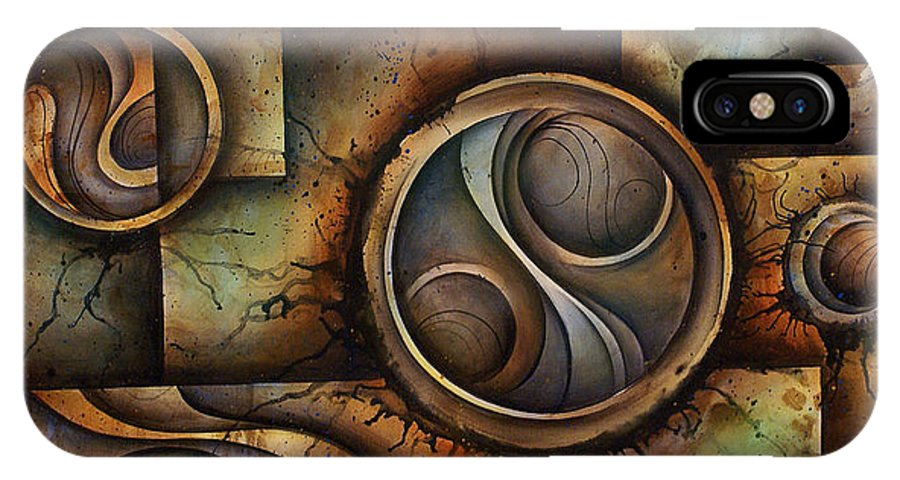 Abstract Art IPhone X Case featuring the painting Abstract Design 13 by Michael Lang