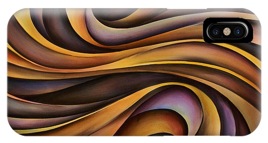 Art IPhone X Case featuring the painting Abstract Design 31 by Michael Lang