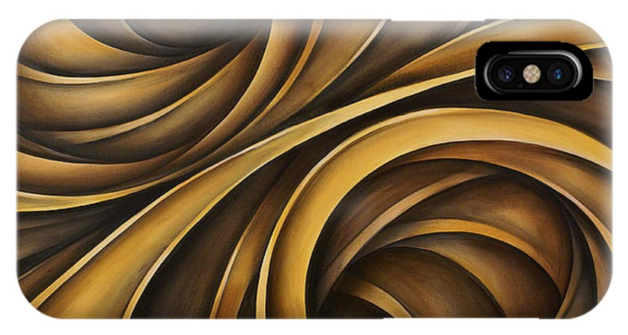 Earth Tones Brown Ribbon Abstract Flowing Motion IPhone X Case featuring the painting Abstract Design 34 by Michael Lang