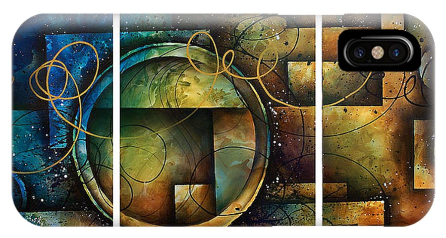 Large Original Painting Abstract Design IPhone X Case featuring the painting Abstract Design 4 by Michael Lang
