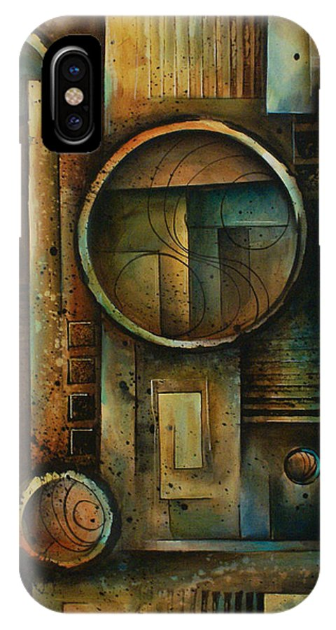 Abstract Design Geometric Shapes Cubism Green Blue Earth Tones Steps IPhone X Case featuring the painting Abstract Design 64 by Michael Lang