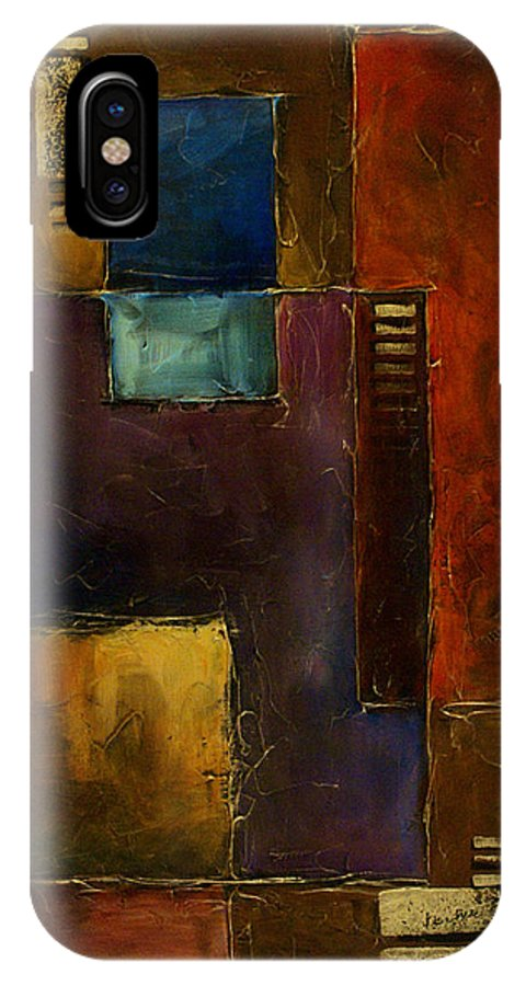 Textured Surface Basic Cubism Geometric Design IPhone X Case featuring the painting Abstract Design 65 by Michael Lang