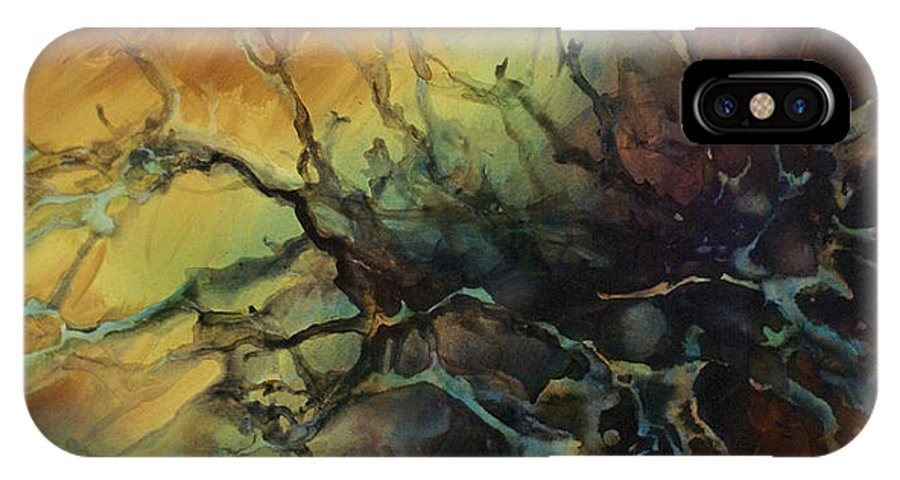 Abstract Art Painting Interior Decor Random Outside Fluid Liquid Earth Tones Garden IPhone X Case featuring the painting Abstract Design 85 by Michael Lang