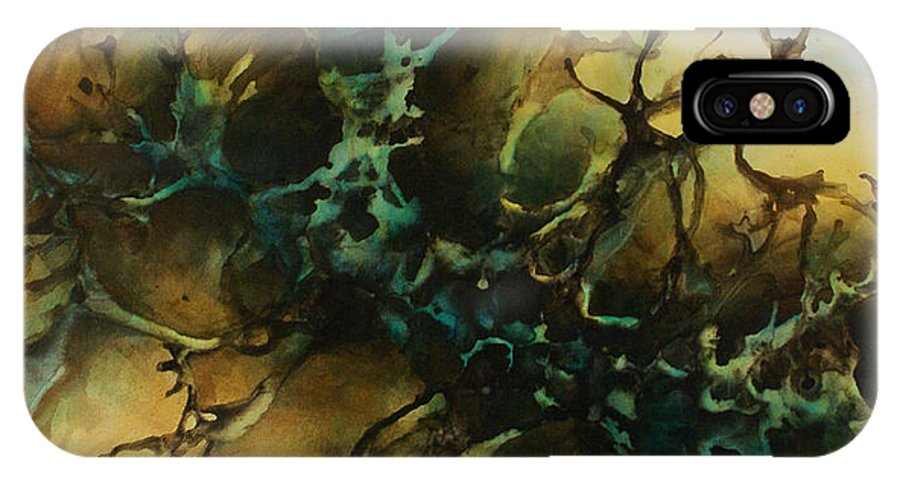 Painting Abstract Fluid Liquid Movement Green Art Decorative Earth Tone Tan Teal Blue IPhone X Case featuring the painting Abstract Design 86 by Michael Lang