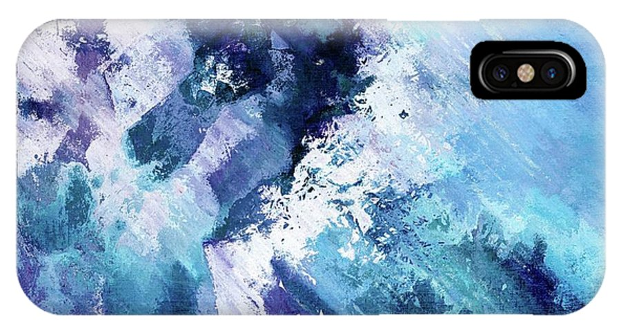 Blue IPhone X Case featuring the digital art Abstract Division - 72t02 by Variance Collections