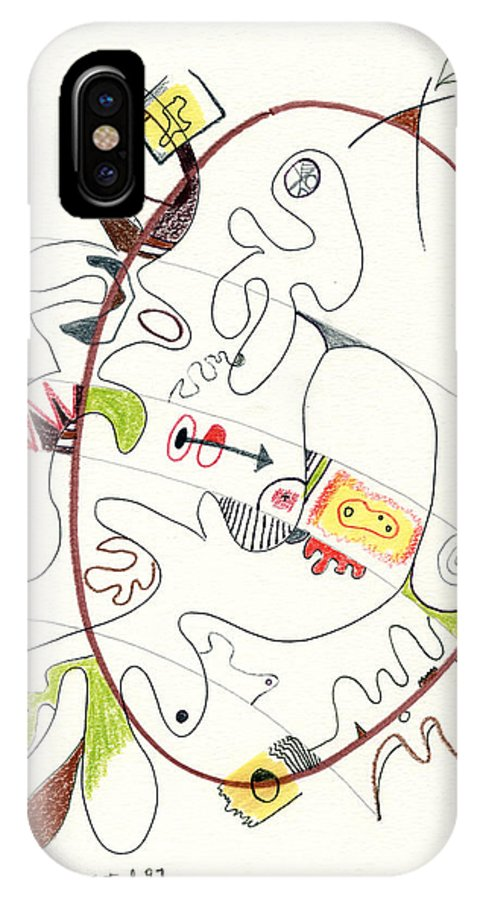 Abstract IPhone X Case featuring the drawing Abstract Drawing Fifty-four by Lynne Taetzsch