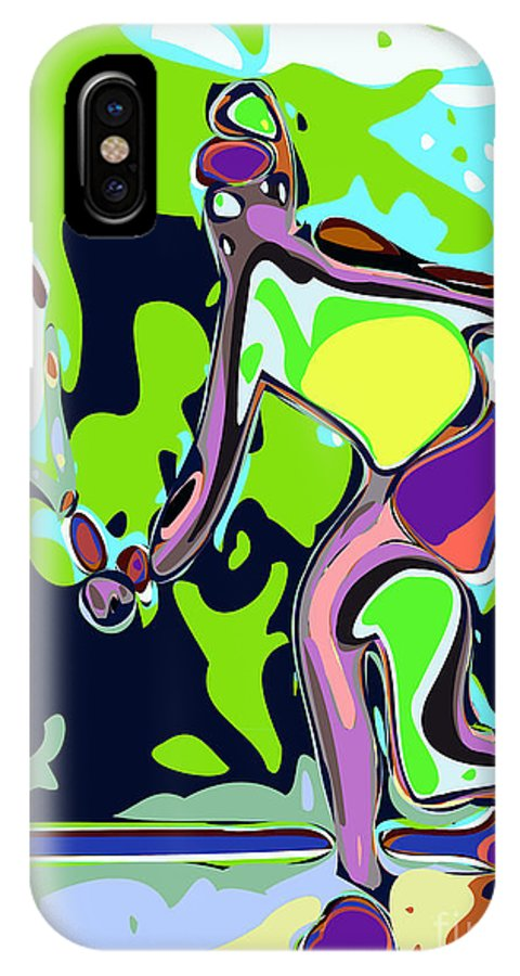 Tennis IPhone X / XS Case featuring the digital art Abstract Female Tennis Player 2 by Chris Butler
