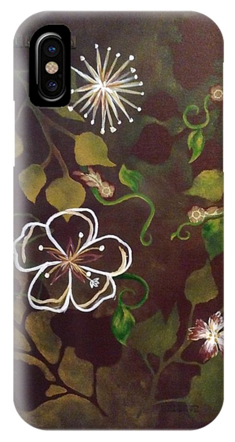 Flowers IPhone X Case featuring the painting Abstract Flowers by Ashley Warbritton
