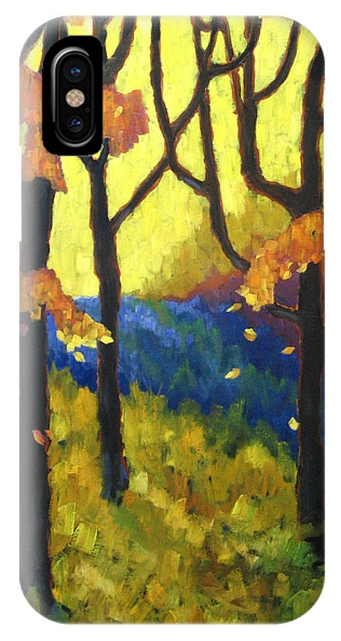 Art IPhone X Case featuring the painting Abstract Forest by Richard T Pranke