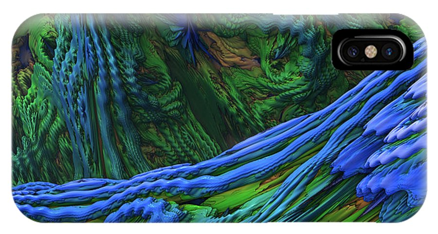 Abstract IPhone X / XS Case featuring the digital art Abstract Fractal Landscape by Miroslav Nemecek