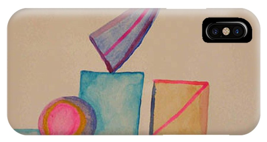 Abstract IPhone X Case featuring the painting Abstract Geometry by Natalee Parochka
