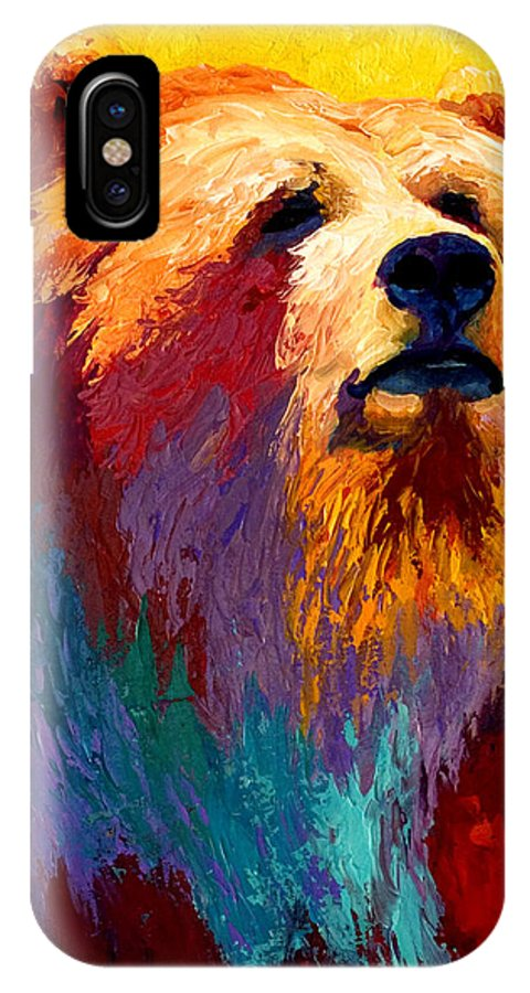 Western IPhone X Case featuring the painting Abstract Grizz by Marion Rose