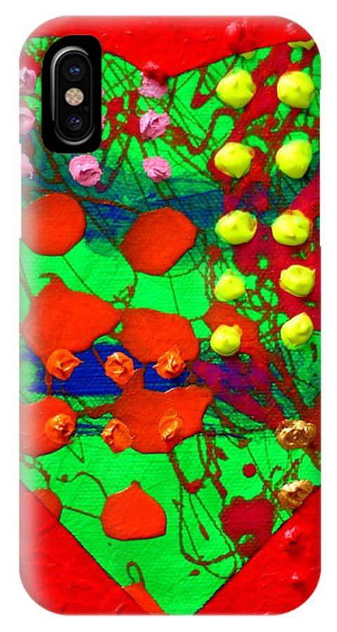 Abstract IPhone X Case featuring the painting Abstract Haert 80218 by John Nolan
