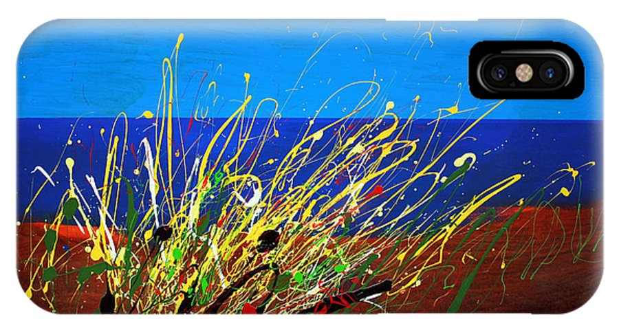 Ibiza IPhone X Case featuring the painting Abstract Ibiza by Mario Zampedroni
