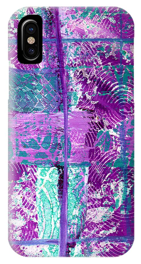 Abstract IPhone X Case featuring the painting Abstract In Purple And Teal by Wayne Potrafka