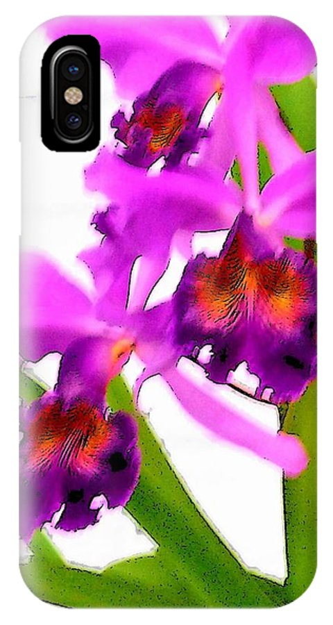 Flowers IPhone X Case featuring the digital art Abstract Iris by Anita Burgermeister