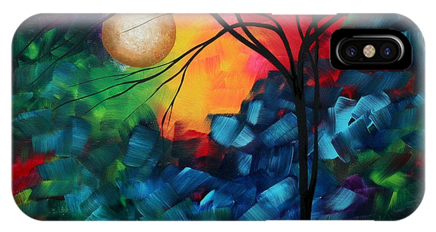 Abstract IPhone X Case featuring the painting Abstract Landscape Bold Colorful Painting by Megan Duncanson
