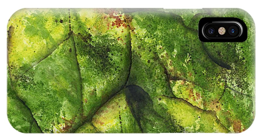 Leaves IPhone X Case featuring the painting Abstract Leaf by Mary Tuomi