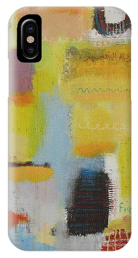 Abstract IPhone X Case featuring the painting Abstract Life 3 by Habib Ayat