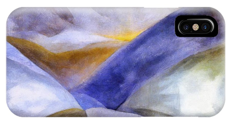 Blue IPhone Case featuring the painting Abstract Mountain Landscape by Michelle Calkins