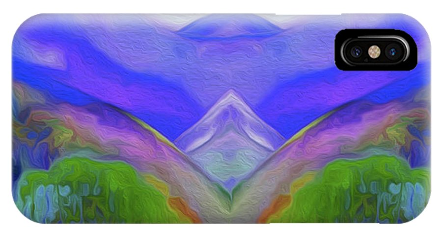 Abstract IPhone X Case featuring the painting Abstract Mountains By Nixo by Nicholas Efthimiou