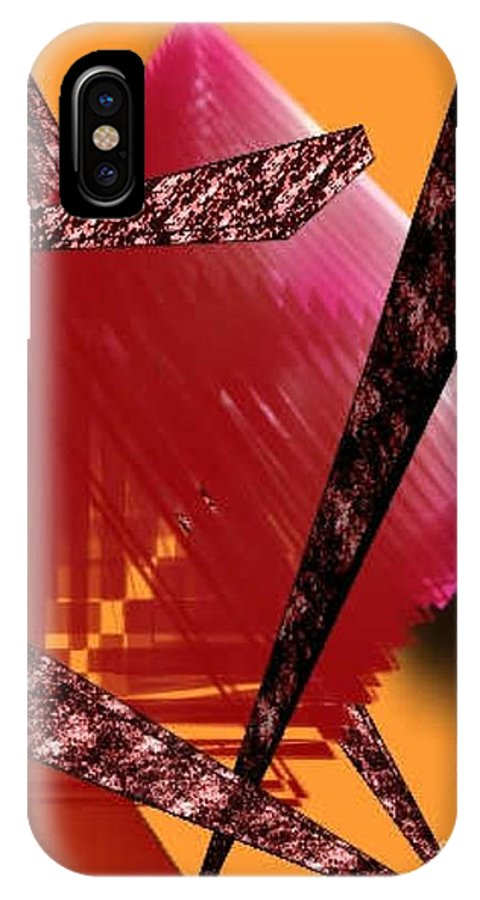 Abstracts IPhone X Case featuring the digital art Abstract-n-gold by Brenda L Spencer