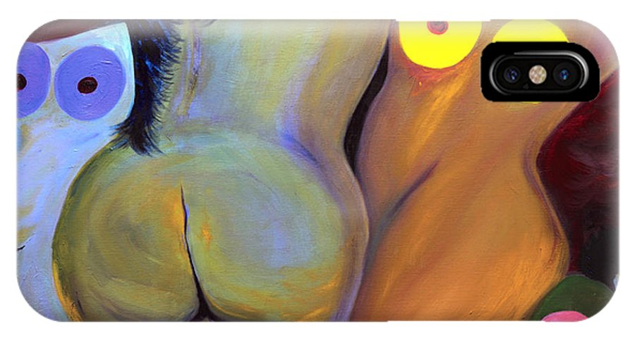 IPhone X / XS Case featuring the painting Abstract Nudes by Annette Lewis