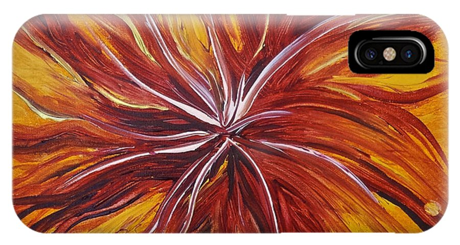Abstract IPhone X Case featuring the painting Abstract Orange Flower by Michelle Pier