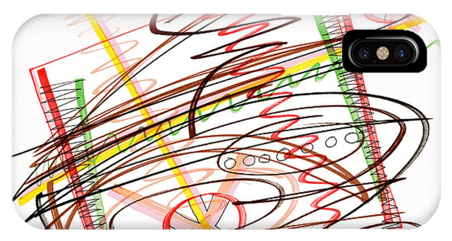 Abstract Art IPhone X Case featuring the drawing Abstract Pen Drawing Seven by Lynne Taetzsch