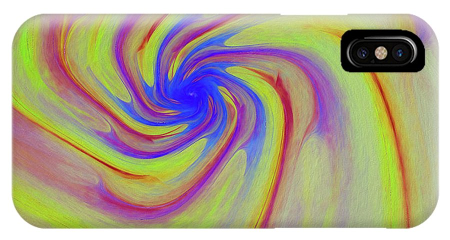 Abstract IPhone X Case featuring the digital art Abstract Pinwheel by Deborah Benoit