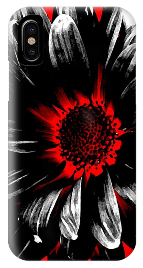 Abstract IPhone X Case featuring the photograph Abstract Red White And Black Daisy by Angelina Vick