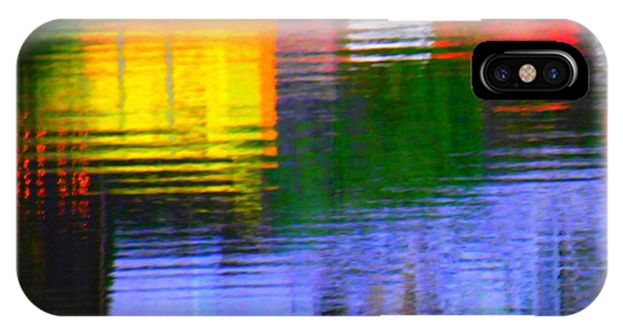 Abstract IPhone X Case featuring the photograph Abstract Reflections In Water 01 by Henry Murray