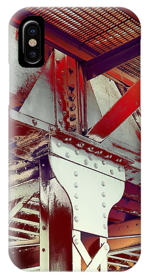 Robert Kernodle Industrial Abstracts IPhone X Case featuring the photograph Grunge Steel Beam by Robert G Kernodle