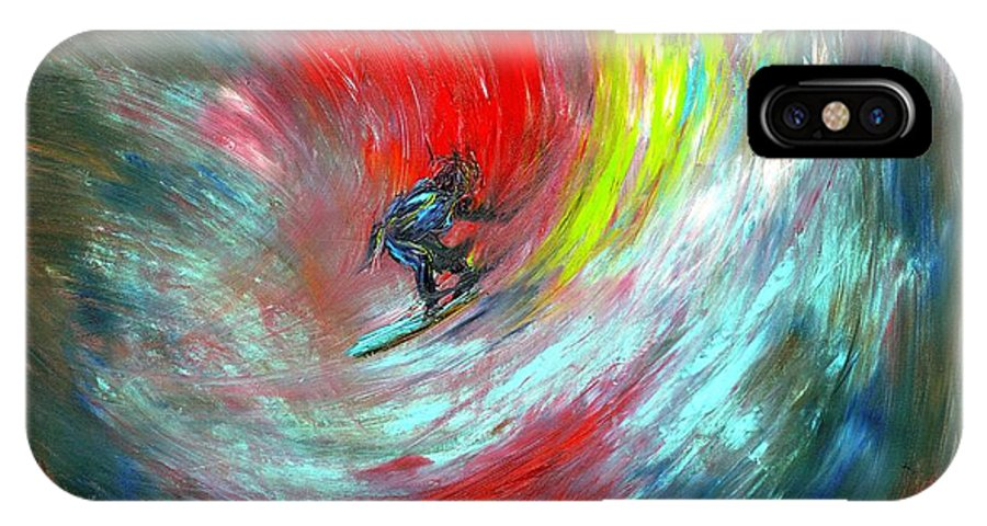Surfer IPhone X Case featuring the painting Abstract Surfer by Paul Emig