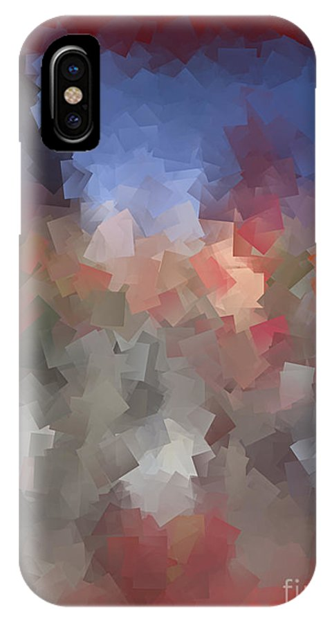 Abstract IPhone X / XS Case featuring the digital art Red And Blue - Abstract Tiles No. 16.0110 by Jason Freedman