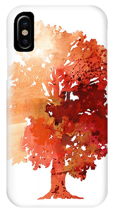 Red IPhone X Case featuring the painting Abstract Tree Watercolor Poster by Joanna Szmerdt