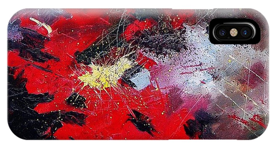 Abstract IPhone X Case featuring the painting Abstract070406 by Pol Ledent